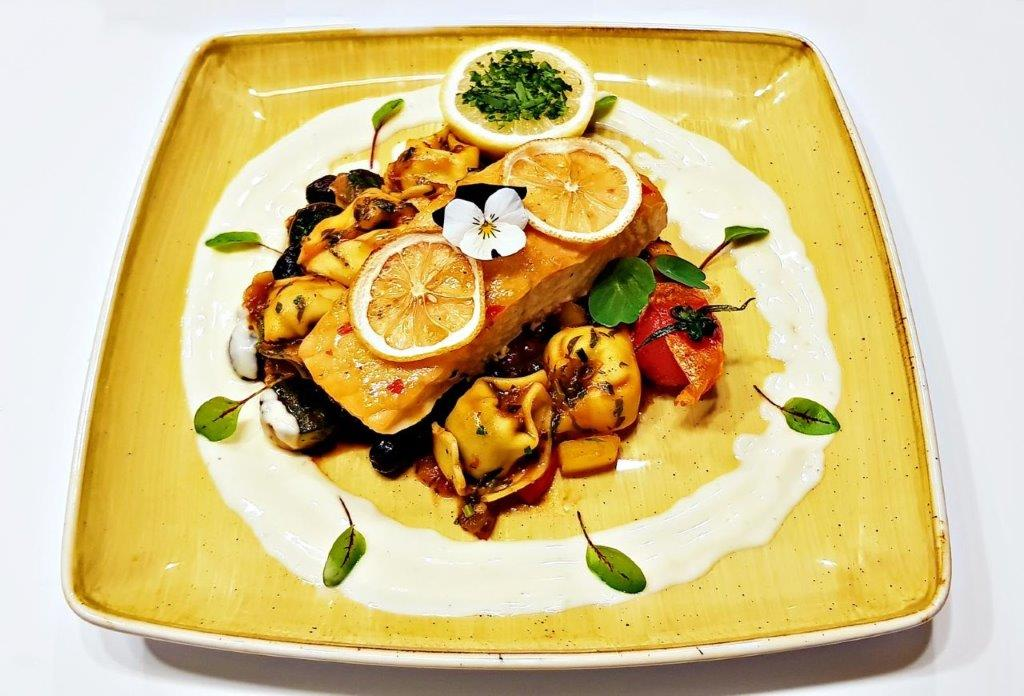 Salmon Fillet in Spicy Citrus Crust with Tortellini & Kalamata Olive Sauce