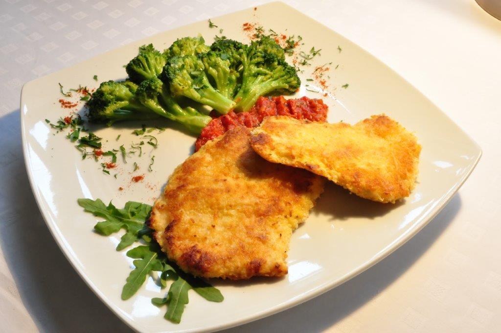 Turkey in Parmesan Crust Served with Sautéed Broccoli